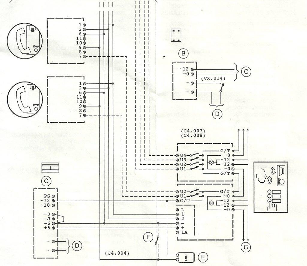 schema collegamento citofono Urmet 1130